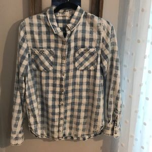 Tops - Distressed Blue and White Shirt Button Up Shirt.